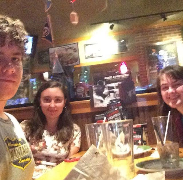 L-R JP Moran, Cristina Zirilli and Lauren Bednor at Applebee's, a favorite high school hangout