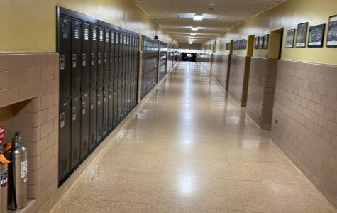 An empty hallway at a deserted Wantagh High School