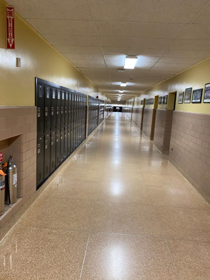 An empty hallway at a deserted Wantagh High School